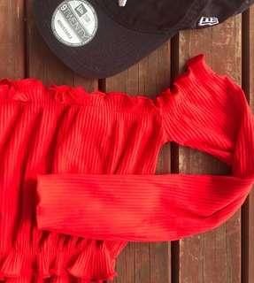 Red OffShoulder Crop