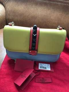 Valentino rockstud leather shoulder bag multicolour