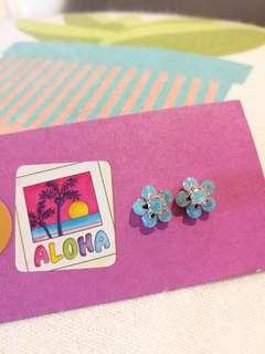 KOREAN Crystal Earrings (blue)