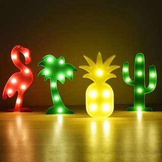 Lampu Hias Tumblr Unicorn Flamingo Kaktus Bintang