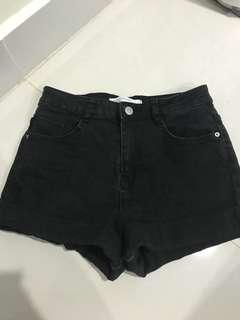 ZARA black denim shorts