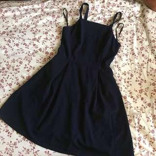 navy blue simple strap dress