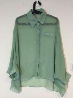 蒂芬尼綠氣質雪紡半透明oversize長袖罩衫