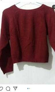 Sweater rajut maroon