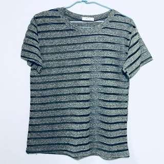 🚚 正韓透膚條紋T恤-灰
