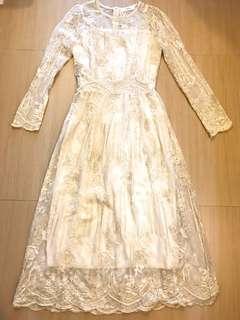 韓國直送 宮廷風 氣質 厘士 蕾絲 連身 長 透視 紗裙Korea Lace Onepiece Dress