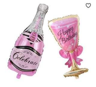 Champagne Bottle & Wine Glass Foil Balloon