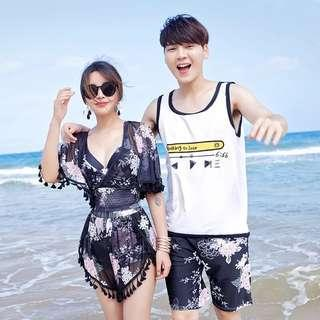 Couple Floral Women's Cross Back Bikini Crop Top Short Men's Short Swim Wear