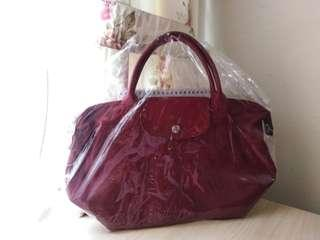Authentic Longchamp Le Pliage Cuir - Dark Red Small #3x100