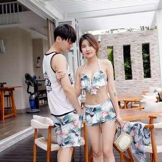 Couple Floral Women's 3 Piece Ruffles Halter Neck Bikini Outerwear Men's Short Swim Wear