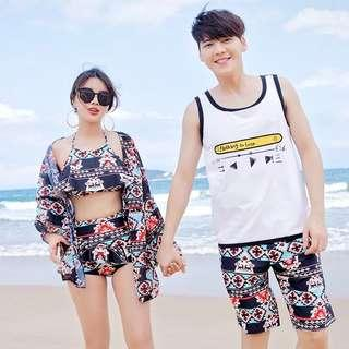 Couple Aztec Print Women's Halter Neck Bikini Men's Short