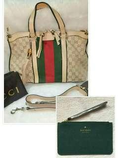 AUTHENTIC QUALITY GUCCI TASSLED BAG WITH AUTHENTIC KATE SPADE WRISTLET