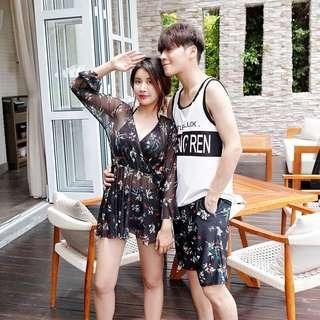 Couple Floral Women's Halter Neck Bikini Men's Short Swim Wear
