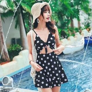 Spaghetti V Neck Keyhole Waist Dress Swim Wear