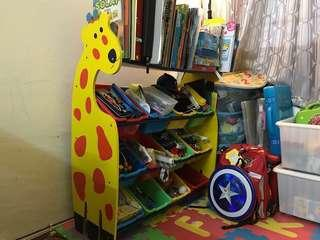 giraffe rack with 12 colourful boxes