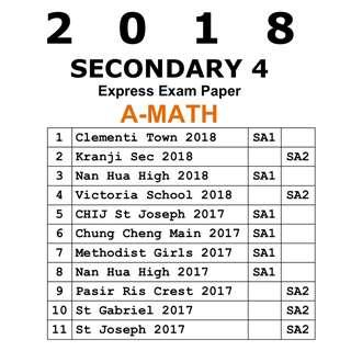2018 Sec 4 A Math exam paper / Express / Secondary 4 / Sec 4 / Mathematics / A-Math / A Math / A-Maths / exam paper / test paper / past year papers / Top School Paper / prelim paper