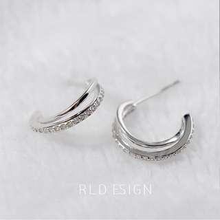 (可換物)S925純銀雙圈閃亮耳環