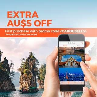 Get AU$5 off On First Klook Purchase