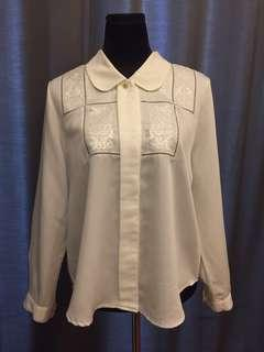 Emboidery White Blouse
