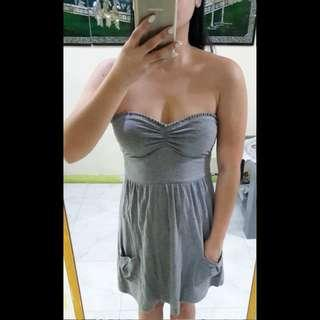 Abercrombie and Fitch gray open-back tube dress