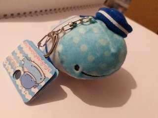 San-X 鯨鯊先生 藍鯨 水手 鎖匙扣 毛公仔