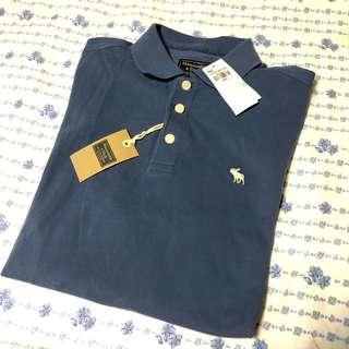 🚚 100%new & real 🇺🇸自帶Abercrombie and fitch A&F 牛仔藍Polo衫