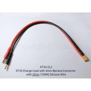 🚚 XT30 Charge Lead with 4mm Banana Connector with 20cm 12AWG Silicone Wire. Code: XT30-CL2