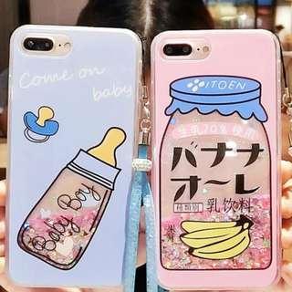 🚚 PO: 📱Pink and Blue Milk Beverage Bottle Glitter Phone Case
