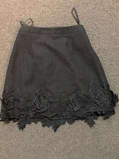 Asilio Black embroidered floral skirt RRP$149.95