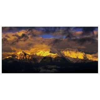 photo print of Sunrise of snow mountains