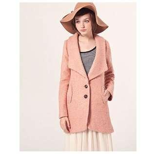 Pazzo 翻領毛呢排釦粉紅大衣