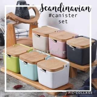 Brand New Scandinavian Canister 2-piece or 3-piece Set