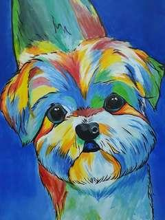 Canvas Abstract Painting Shih Tzu Puppy Dog