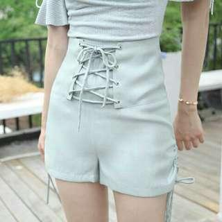 🚚 春夏復古綁帶短褲側邊系帶高腰休閒短褲熱褲