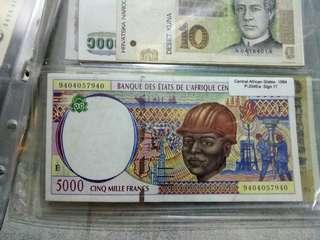 Central African State 5000 Francs