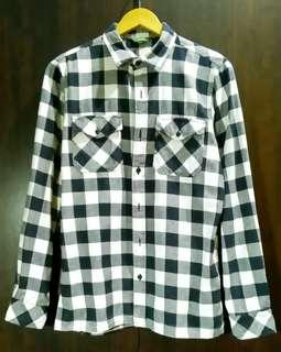 Authentic Bossini Mens flannel checkered longsleeves polo