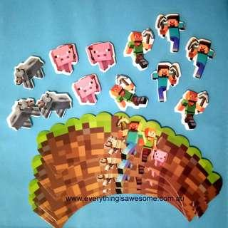 New 12 pcs Minecraft Cupcake wrappers and toppers  Design A $11.00 (Free Postage Australia wide)