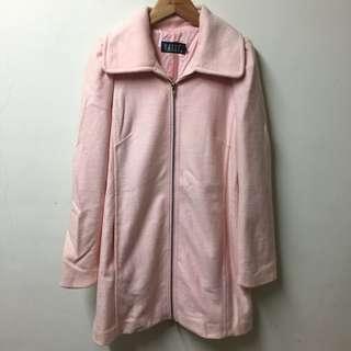 香港專櫃威高全新wanko 羊毛後拉鏈粉紅大衣