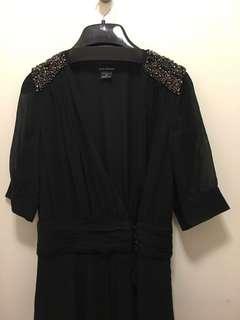 Club Monaco wrap long black dress with beads on shoulders sz 00