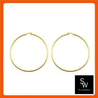Silverworks X3972 Gold Large Hoop Earrings