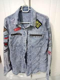 Denim Blouse Graphic Patched