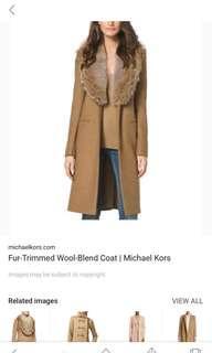 Michael Kors wool coat with cayote fur collar sz 2