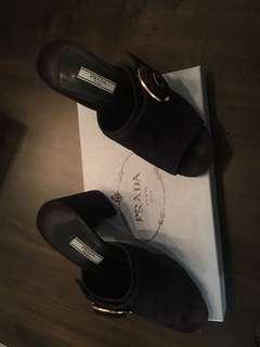 Prada blue suede chunky heel slide sz 37