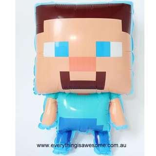 Minecraft  Balloon Steve 66 x 42 cm, Party Decoration $5.00 (Free Postage Australia wide)