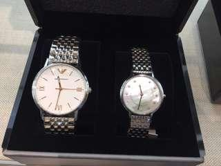 🚚 代購 全新 正品 Armani 對錶 真皮 黑色 皮帶 不鏽鋼 鍊帶 母貝面