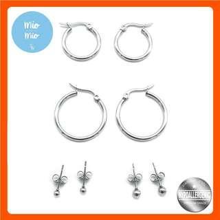 Silverworks X3789 Set of 4 Stud & Hoop Earrings