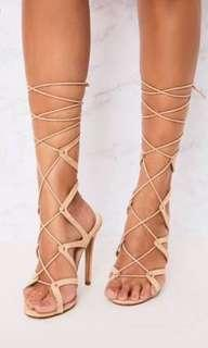 Misguided nude lace up wrap tie up heels