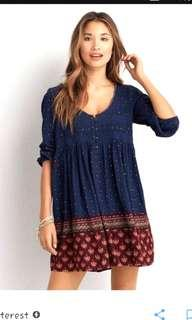 American Eagle Outfitters AEO Navy Blue Floral Print Smocked Babydoll Peasant Dress