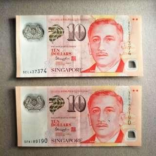 NICE NUMBERS Singapore $10 NOTE