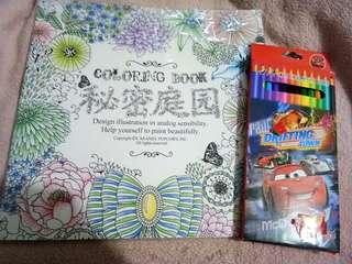 Coloring book for adults Free colored pens